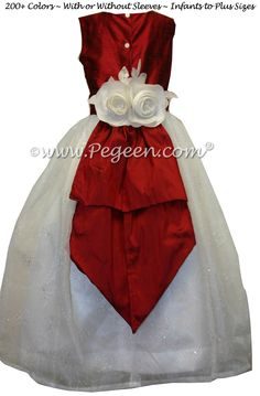 FLOWER GIRL DRESSES in Christmas Red & Antique White Silk and Sparkle Organza  by Pegeen