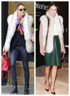 The art of accessorizing-helenhou.com-Olivia Palermo, fur cardigan vest, leather pants, black boots, red louis vuitton bag, green leather skirt