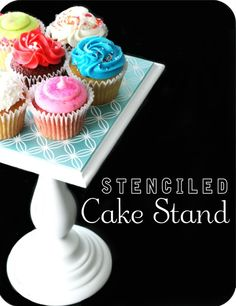 stenciled cake stand