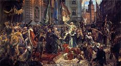 Adoption of the Polish Constitution by Jan Metejko   The Constitution of 3 May 1791 (Polish: Konstytucja 3 maja, Lithuanian: Gegužės trečiosios konstitucija) was adopted by the Great Sejm (parliament) of the Polish–Lithuanian Commonwealth, a dual monarchy comprising Poland and Lithuania. Drafted over 32 months beginning on 6 October 1788, Click on the image to read more and see more art by the Old Masters.