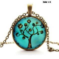 Life Tree Pendant Necklace Art Tree glass cabochon Necklace Bronze chain vintage choker statement Necklace Fashion women Jewelry