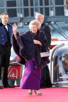 Princess Beatrix of the Netherlands arrives at the Muziekbouw following the water pageant after the abdication of Queen Beatrix and the Inauguration of King Willem Alexander