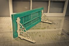 Vintage ShutterShelf Repurposed Peacock by pinkpearlswhitelace