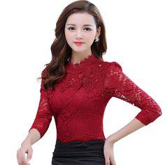 Barato 2016 de Inverno Mulheres Outono Tops Moda Blusa de Renda Manga Longa Corpo magro Rendas de Croché Floral Camisa Elegante Rendas Plus Size Top, Compro Qualidade Blusas & Camisas diretamente de fornecedores da China: