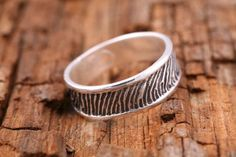 #Custom #Wedding Jewelry - Actual Fingerprint Wedding Ring by That's My Impression | Hatch.co Fingerprint Wedding, Custom Wedding Gifts, Personalized Jewelry, Wedding Jewelry, Wedding Bands, Rings For Men, Silver Rings, Engagement Rings, Gold