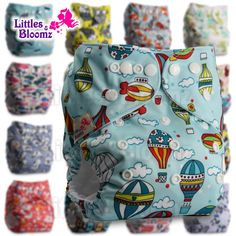 with 2 Bamboo Charcoal Inserts Fastener: Hook-Loop Pattern 68 Littles /& Bloomz Set of 1 Reusable Pocket Cloth Nappy
