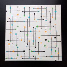 Mid Century Modern Linear Geometric Wall by LobsterLadyCreations