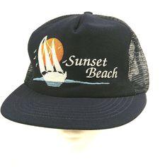 Sunset Beach Sailboat Ocean Sun Birds Trucker Hat Baseball Cap Mesh Snapback #MadeinUSA #TruckerHat
