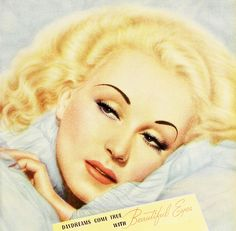 From a 1943 ad for Maybelline cosmetics (love the eyebrows). #vintage #1940s #makeup #ads