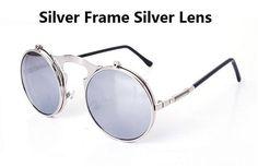 Round Flip Up Metal Frame Sunglasses