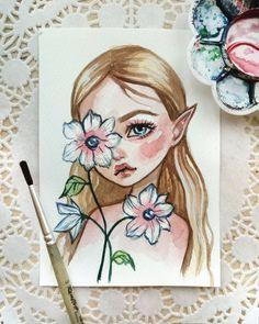 Original watercolor art in the format of a postcard. Amazing Drawings, Cute Drawings, Arte Sketchbook, Cute Art, Art Inspo, Art Sketches, Art Girl, Watercolor Art, Character Art