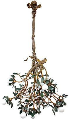 Circa 1915 Art Nouveau Bronze Mistletoe Chandelier ~ would be so nice to hang at Christmas time Art Nouveau Bedroom, Art Nouveau Interior, Art Nouveau Furniture, Art Nouveau Design, Bedroom Art, Bijoux Art Nouveau, Art Nouveau Jewelry, Chandeliers, Lampe Art Deco