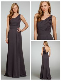 One-shoulder A-line Bridesmaid Dress with Draped Skirt