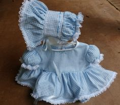 REBORN Doll Baby Handmade Blue & White Checks Dress, Bonnet & Bloomers-beautiful