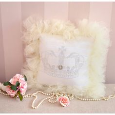 Shabby French Chic Tulle Crown Throw Pillow in Cream