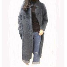(Пользовательские) Корея Плюшевые норки кашемира пальто толстая норки вязаный свитер длинный абзац кардиган(China (Mainland))
