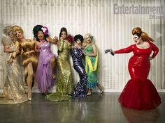 Melissa McCarthy as Divine with drag queens Dee W. Eye, Mimi Imfurst, Kay Sedia, Tatianna Xtravaganza, Lotta Slots, and Pandora Boxx #MelissaMcCarthy #Divine #MimiImfurst #PandoraBoxx