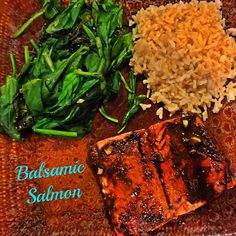 Changed up my salmon recipe last night to a honey balsamic salmon and it may rival my favorite teriyaki salmon recipe!❤️ I paired it with sautéed spinach and garlic lime brown rice to make a complete dinner. WHO ELSE COULD EAT SALMON EVERYDAY?! Recipe is in the link in my bio!❤️