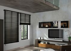 Budget Blinds provides custom wood blinds for all shapes and sizes of windows. Schedule a free in-home consultation to transform your living space today! Blinds For Windows Living Rooms, House Blinds, Curtains With Blinds, Window Blinds, Dark Wood Blinds, Black Blinds, Outside Mount Blinds, Casa Top, Store Venitien