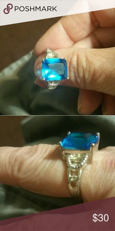 Brilliant blue sapphire ring Sterling silver Jewelry Rings