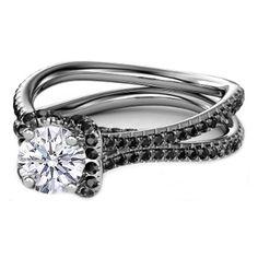 Butterfly Black Diamond Engagement Ring in 14K White Gold
