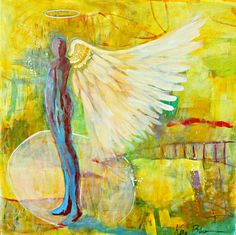 """Large Abstract Angel Painting Original Figure with Wings, Colorful Original Artwork """"Being Angelic"""" Cool Artwork, Amazing Artwork, Original Artwork, Original Paintings, Christmas Gifts For Kids, Paintings For Sale, Etsy Handmade, Wall Art, Wall Decor"""