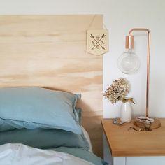 bedside styling - ply headboard