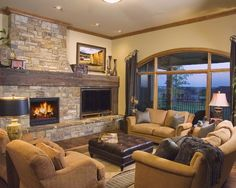 tv side by side fireplace | Stone fireplace with TV on the side