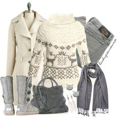 """Comfy Winter Cream and Grey"" by lindsycarranza on Polyvore"