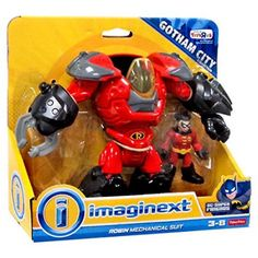 Imaginext ROBIN Mechanical Suit Gotham City Exclusive Figure Playset Gotham City villains head the other way! Kids will love fighting crime with a cool gadget Kids Spiderman Costume, Spiderman Art, Robin Suit, Justice League Action Figures, Nerf Toys, Mega Pokemon, Baby Girl Toys, And So The Adventure Begins, Gotham City