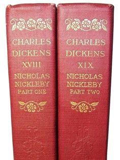 Charles Dickens Nicholas Nickleby Anniversary Edition Illust 2 Vol Set Red Stack Handwriting Analysis, Nice Handwriting, Charles Dickens Nicholas Nickleby, Anniversary, Red, Tips, Books, Libros, Book