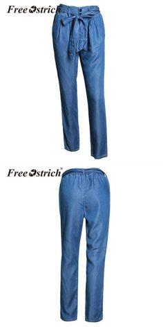 Fsshion shshes elastic waist jeans women high waist denim pants loose  casual softener wide leg jeans c5a86656702