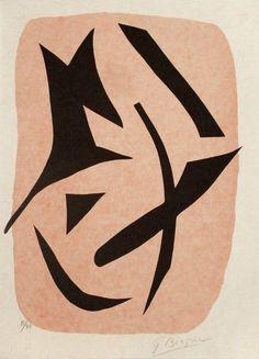 Georges Braque, vol d'oiseaux noirs sur fond rose