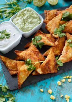 Southwestern US Wontons... with two dipping options.