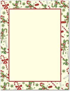 Just Print Candy Cane & Holly Letterhead, Christmas Frames, Christmas Paper, Christmas Cards, Christmas Letterhead, Christmas Stationery, Borders For Paper, Free Christmas Printables, Printable Paper, Free Printable