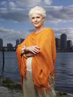 """Sharon Gless (born 1943) -- Playing Madeline Westen in """"Burn Notice,"""" she took the character from a small, comic-relief role of a neurotic and exasperating Mom, to a fierce and savvy survivor who holds her own in a strong cast and brings heartbreak as well as laughs.  More like her at https://www.pinterest.com/yrauntruth/grow-up-age-croning/"""