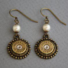 Bullet Earrings-Federal 38 Special Earrings-Swarovski Glass Pearls-Bullet Accessories via Etsy