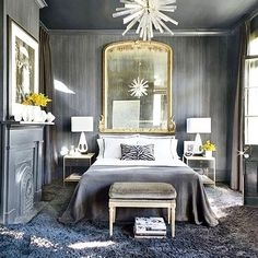 Modern, glamorous, and grey all over  We can't get enough of this monochromatic bedroom with the perfect pops of white and gold. Regram from @starkcarpet : @archdigest | #designinspo #interiordesign #grey #bedroom #shagcarpet #lighting #white #yellow #lacqueredceiling #monochromatic #neutral #cozy #homedecor #unexpectedcolors #statement #fireplace #roomswelove #starkcarpet #archdigest #raleigh #instagood #interiorinspo #alwaysinspired #BAIinspiration