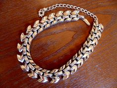 CHOKER LINK NECKLACE Stunning Shiny Goldtone Links vtg 1950s 1960s Mid Century Industrial by OurVintageWay on Etsy
