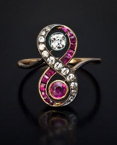 Vintage engagement rings - ruby and diamond engagement ring c. 1910