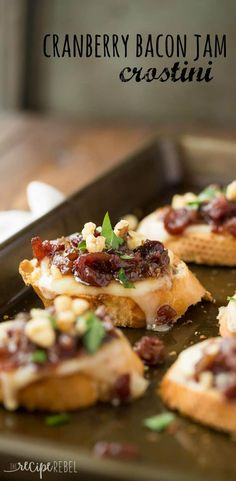 Easy, make ahead Cranberry Bacon Jam and cheese on top of a crusty baguette, topped with chopped walnuts for extra crunch -- these crostini are the perfect combination of sweet, smoky, salty and cheesy! Make Ahead Appetizers, Thanksgiving Appetizers, Christmas Appetizers, Appetizers For Party, Thanksgiving Recipes, Holiday Recipes, Dinner Recipes, Christmas Recipes, Christmas Snacks