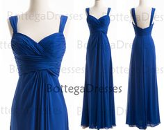 Straps Chiffon Royal Blue Long Bridesmaid Dresses, Long Prom Dresses, Wedding Party Dresses, Royal Blue Prom Gown on Etsy, $138.52 CAD