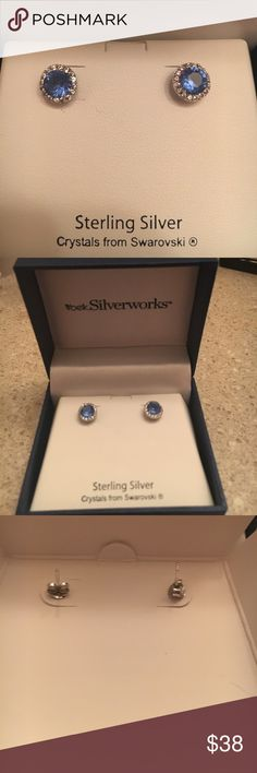Sapphire and Silver Earrings These beautiful earrings are sterling silver with a faux sapphire stone outlined in Swarovski crystals. They have only been worn once and have been completely cleaned. Perfect for yourself or anyone who adds sparkle to your life! Jewelry Earrings