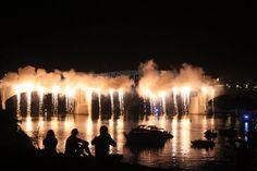 "Chattanooga Fireworks_""raining"" off the Walnut Street Bridge"