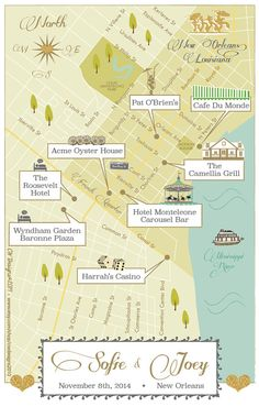 New Orleans Louisiana Wedding Map by cwdesigns2010 on Etsy, $295.00 CWS-Designs.com