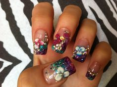 Acrylic Nails - Turquoise, Pink and Purple with 3d Flowers