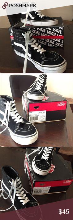 Black/Black/White VANS Sk8-Hi Sneakers Worn twice! Vans Shoes Sneakers