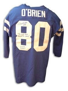 cb5eeebe5d86 Autographed Jim O Brien Baltimore Colts Throwback blue Jersey with