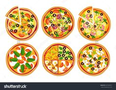 Set Of Different Delicious Pizzas Isolated On White. Vector - 487048321 : Shutterstock