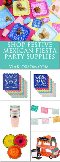 Shop our must have fiesta party supplies and decorations for the coolest party ever! Festive mexican decorations, papel picado plates and cinco de mayo party decor!
